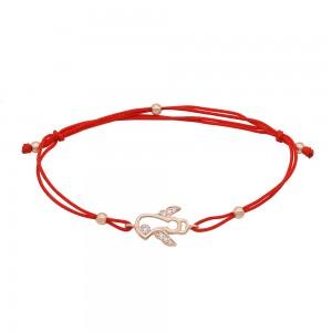 Raudono siūlo apyrankė su auksu su cirkoniais 074B21