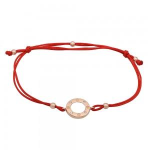 Raudono siūlo apyrankė su auksu su cirkoniais 074B22