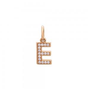 Auksinis pakabukas su cirkoniais raidė E 073P03