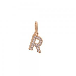 Auksinis pakabukas su cirkoniais raidė R 073P04