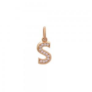 Auksinis pakabukas su cirkoniais raidė S 073P02