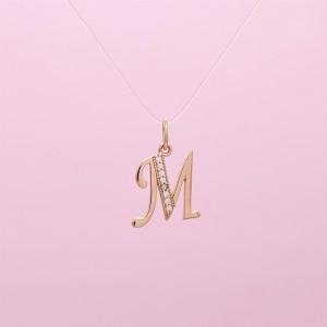 Auksinis pakabukas raidė M su fianitais 080P25