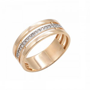 Auksinis žiedas su fianitais 074K05