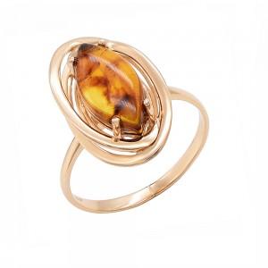 Auksinis žiedas su gintaru 070K04
