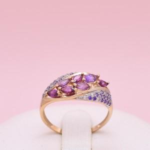 Auksinis žiedas su ametistu, rodolitu ir fianitais 19.75 mm