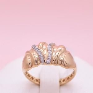 Auksinis žiedas su fianitais 19.5 mm