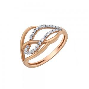 Auksinis žiedas su cirkoniais 17 mm