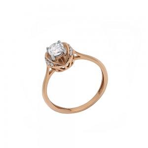 Auksinis žiedas su cirkoniais 17mm