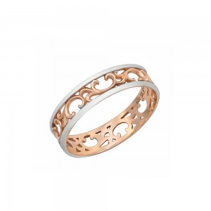Auksinis žiedas su  baltu auksu 17.5  mm
