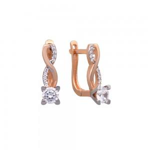 Auksiniai auskarai su fianitais 029S19