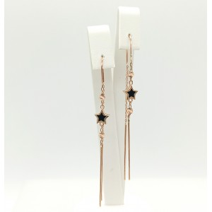 Auksiniai auskarai su oniksu 073S09