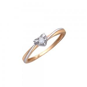 Auksinis žiedas su briliantu 16.5 mm