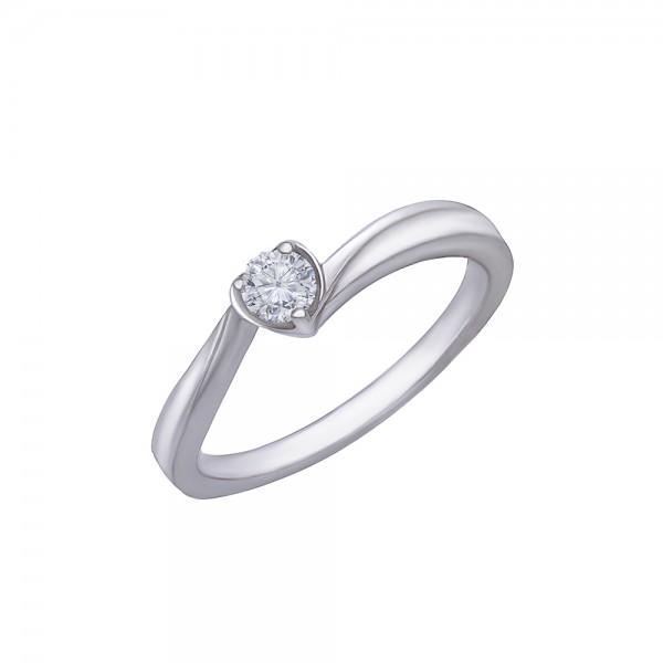 Balto aukso žiedas su briliantu 16.5 mm