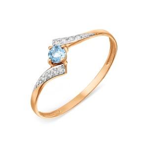 Auksinis žiedas su topazu ir fianitais