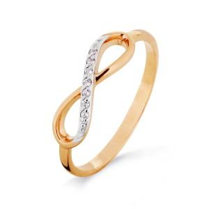 Auksinis žiedas su fianitais 070K10