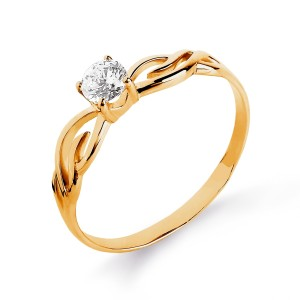 Auksinis žiedas su fianitu