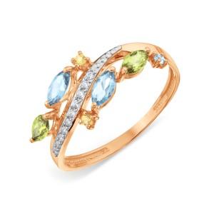 Auksinis žiedas su topazu, citrinu, hrizolitu ir fianitais 17.5 mm
