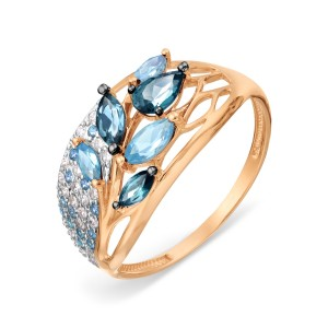 Auksinis žiedas su topazu ir fianitais 17.25 mm