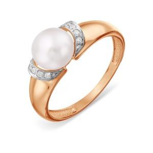 Auksinis žiedas su perlu ir fianitais 070K12