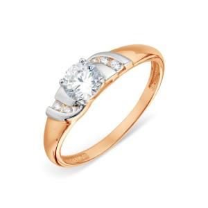 Auksinis žiedas su fianitais 18.5 mm