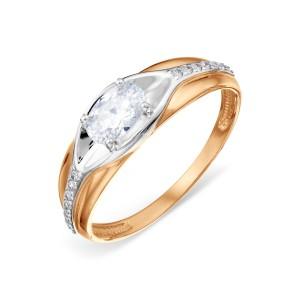 Auksinis žiedas su fianitais 16 mm