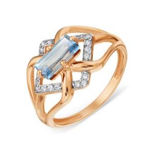 Auksinis žiedas su topazu ir fianitais 18mm