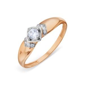 Auksinis žiedas su fianitais 16.25 mm