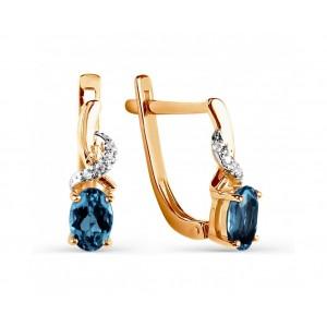 Auksiniai auskarai su topazu ir  Swarovski Zirconia 069S02