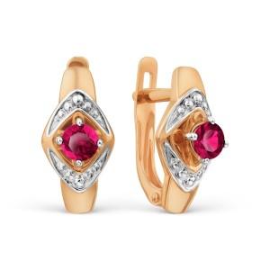 Auksiniai auskarai su rubinu ir briliantais