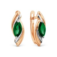 Auksiniai auskarai su smaragdu 074S35