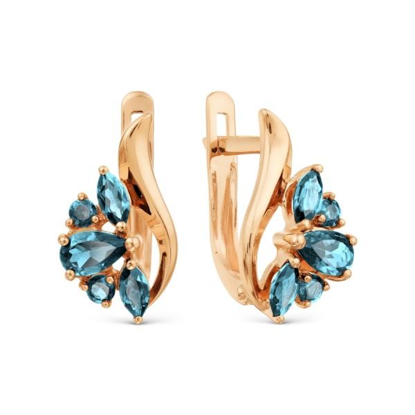 Auksiniai auskarai su topazu ir  fianitais 069S08