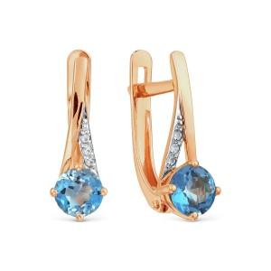 Auksiniai auskarai su topazu ir  fianitais 069S07