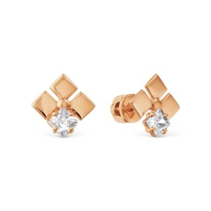 Auksiniai auskarai su fianitu 074S22