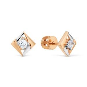 Auksiniai auskarai su fianitu 074S21