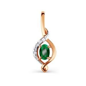 Auksinis pakabukas su smaragdu ir briliantais 081P01