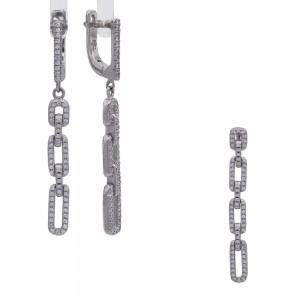 Sidabrinis komplektas su cirkoniais auskarai ir pakabukas  128S118