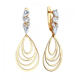 Auksiniai auskarai su fianitais 071S13