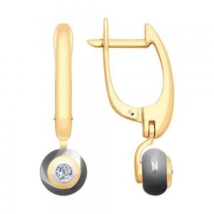 Auksiniai auskarai su keramika ir briliantais 070S03