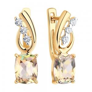 Auksiniai auskarai su Swarovski topazu ir Swarovski Zirconia 071S11