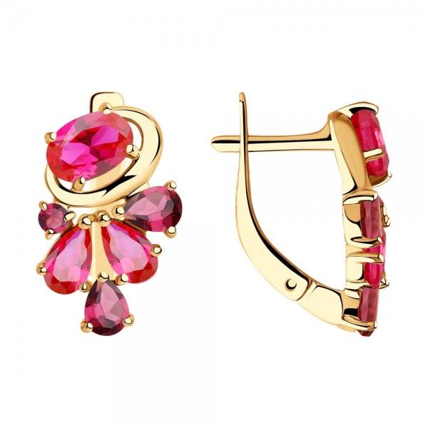 Auksiniai auskarai su rodolitu ir rubino korundu 076S03