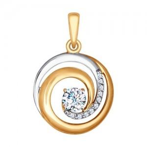 Auksinis pakabukas su fianitais 065P22