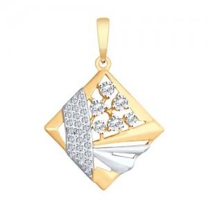 Auksinis pakabukas su fianitais 071P02