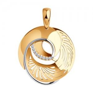 Auksinis pakabukas su fianitais 065P15
