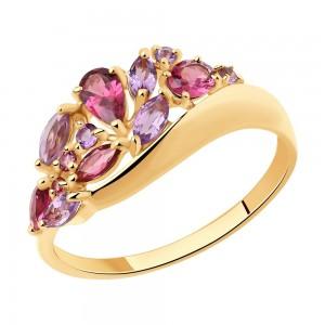 Auksinis žiedas su rodolitu ir ametistu 076K03