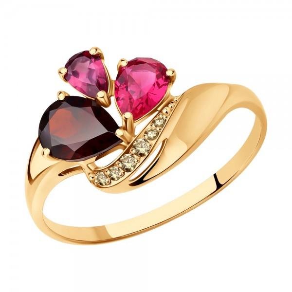 Auksinis žiedas su rodolitu, korundu ir ametistu 076K01