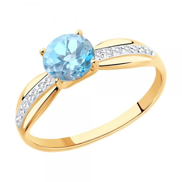 Auksinis žiedas su topazu ir fianitais 076K02