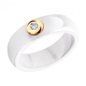 Keramikinis žiedas su auksu ir briliantu 066K02