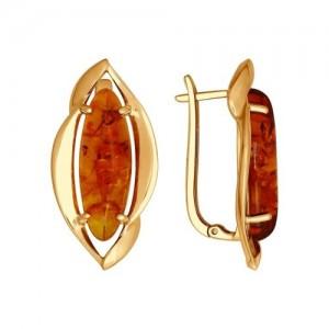 Paauksuotos sidabriniai auskarai su gintaru 165S18