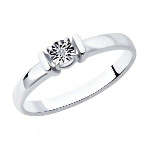 Sidabrinis žiedas su briliantu 177K07