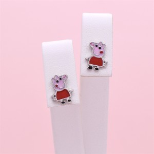 Sidabriniai auskarai Peppa Pig  su emaliu 180S93